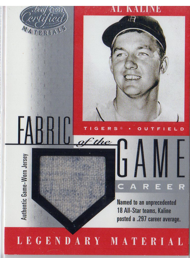 2001 Leaf Certified Materials Fabric of the Game #6CR Al Kaline/137