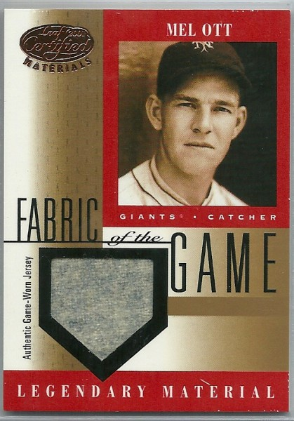 2001 Leaf Certified Materials Fabric of the Game #8BA Mel Ott