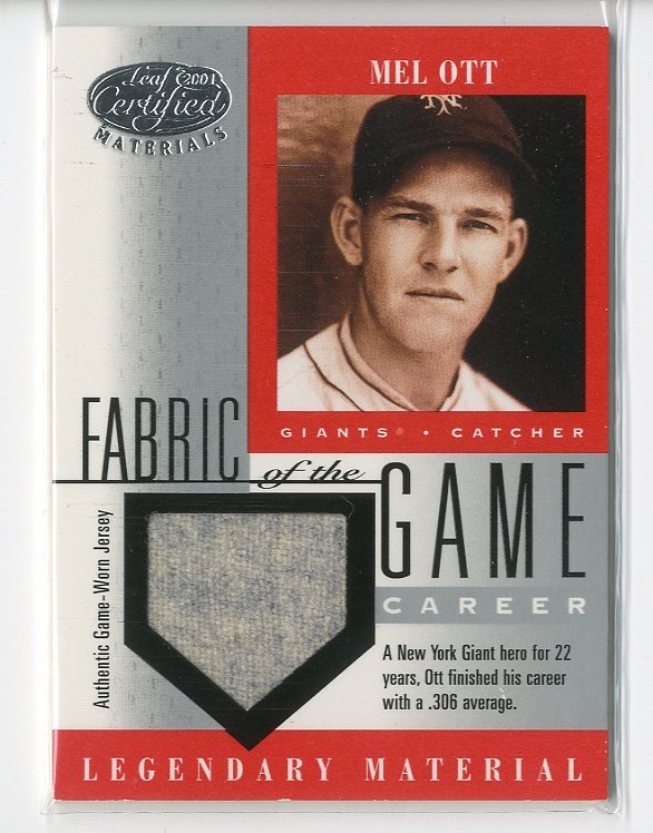 2001 Leaf Certified Materials Fabric of the Game #8CE Mel Ott/21