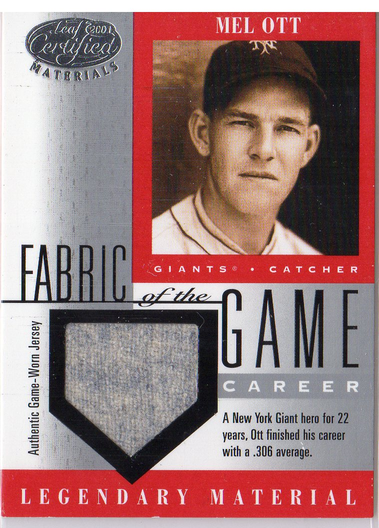2001 Leaf Certified Materials Fabric of the Game #8CR Mel Ott/72