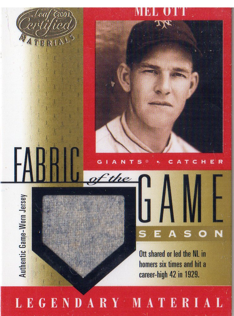 2001 Leaf Certified Materials Fabric of the Game #8SN Mel Ott/42