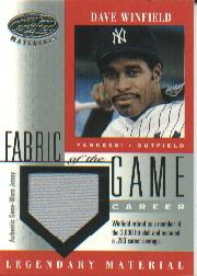 2001 Leaf Certified Materials Fabric of the Game #9CR Dave Winfield/88