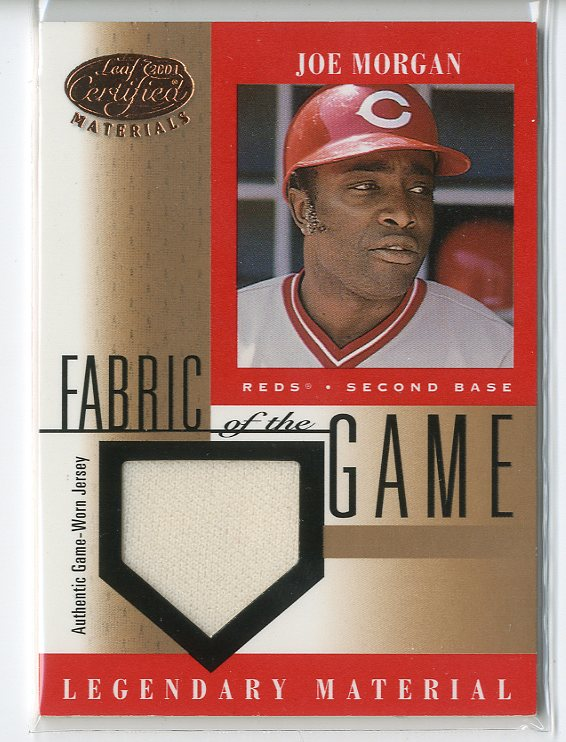 2001 Leaf Certified Materials Fabric of the Game #16BA Joe Morgan SP
