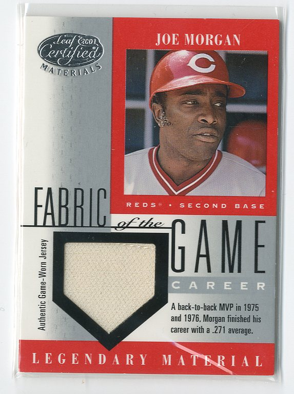 2001 Leaf Certified Materials Fabric of the Game #16CE Joe Morgan/21