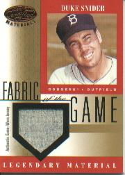 2001 Leaf Certified Materials Fabric of the Game #31BA Duke Snider SP
