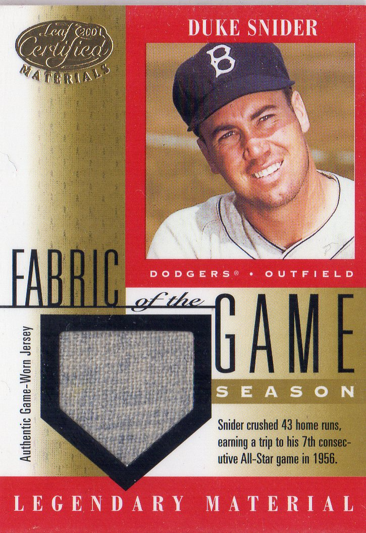 2001 Leaf Certified Materials Fabric of the Game #31SN Duke Snider/43