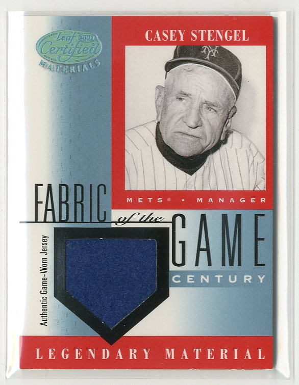 2001 Leaf Certified Materials Fabric of the Game #34BA Casey Stengel SP