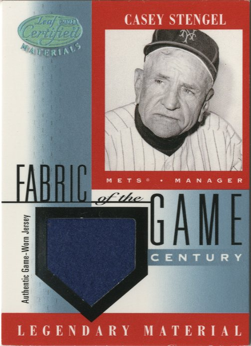 2001 Leaf Certified Materials Fabric of the Game #34CE Casey Stengel/21