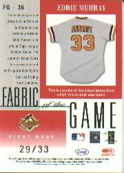 2001 Leaf Certified Materials Fabric of the Game #36SN Eddie Murray/33 back image