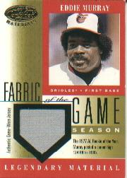 2001 Leaf Certified Materials Fabric of the Game #36SN Eddie Murray/33