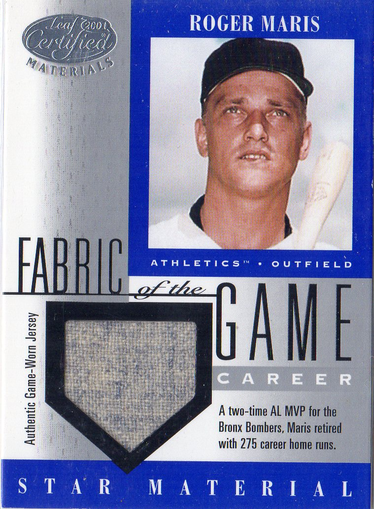 2001 Leaf Certified Materials Fabric of the Game #47CR Roger Maris/275