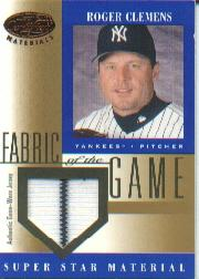 2001 Leaf Certified Materials Fabric of the Game #49BA Roger Clemens