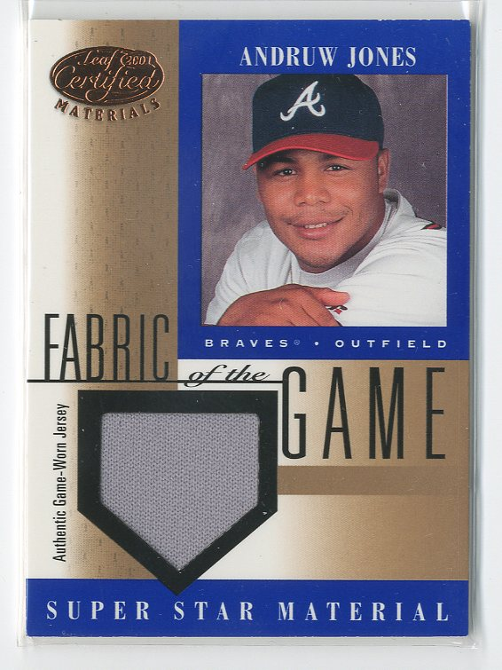 2001 Leaf Certified Materials Fabric of the Game #59BA Andruw Jones