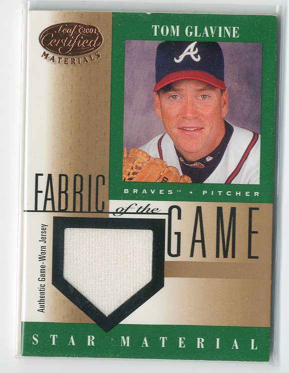2001 Leaf Certified Materials Fabric of the Game #71BA Tom Glavine