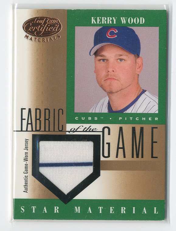 2001 Leaf Certified Materials Fabric of the Game #87BA Kerry Wood