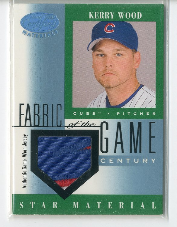 2001 Leaf Certified Materials Fabric of the Game #87CE Kerry Wood/21