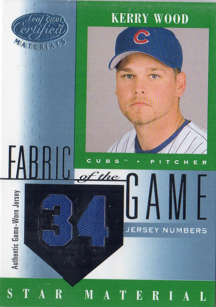 2001 Leaf Certified Materials Fabric of the Game #87JN Kerry Wood/34