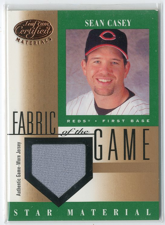 2001 Leaf Certified Materials Fabric of the Game #88BA Sean Casey