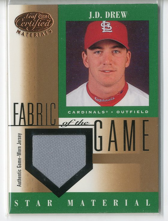 2001 Leaf Certified Materials Fabric of the Game #97BA J.D. Drew