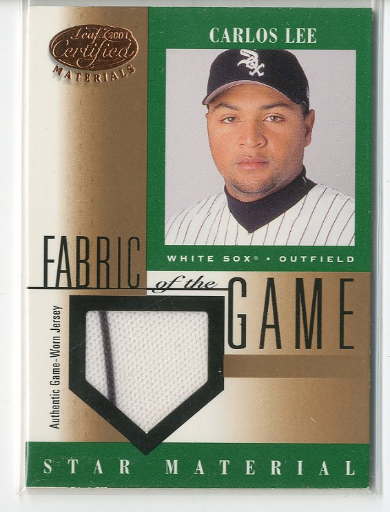 2001 Leaf Certified Materials Fabric of the Game #102BA Carlos Lee