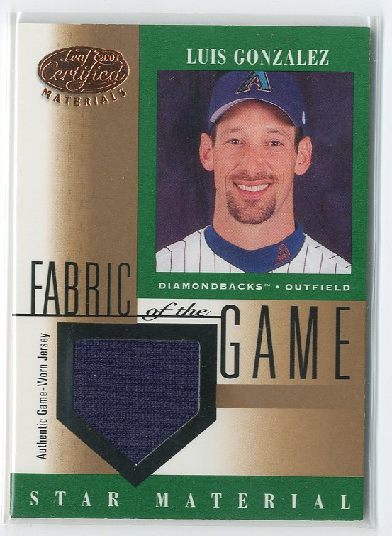 2001 Leaf Certified Materials Fabric of the Game #105BA Luis Gonzalez