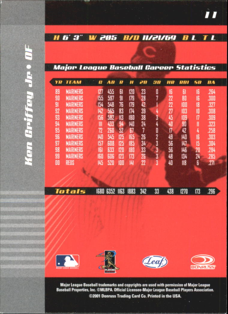 2001 Leaf Limited #11 Ken Griffey Jr. back image