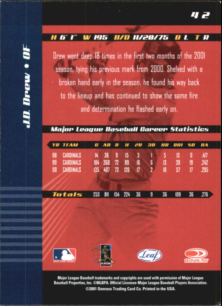 2001 Leaf Limited #42 J.D. Drew back image