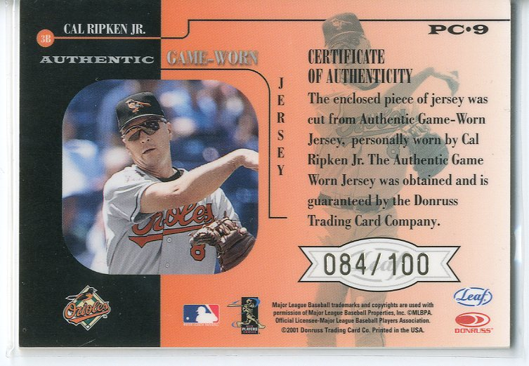 2001 Leaf Rookies and Stars Players Collection #PC9 Cal Ripken Gray Jsy back image