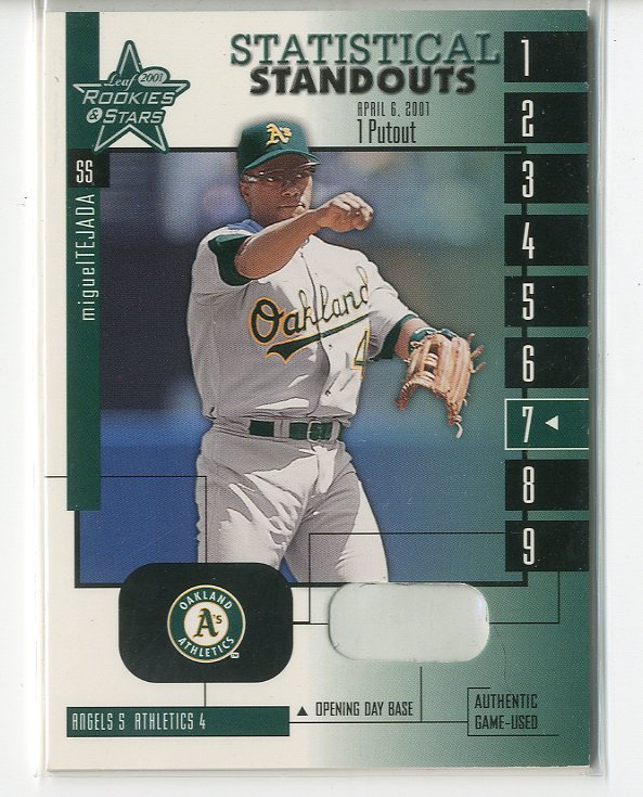 2001 Leaf Rookies and Stars Statistical Standouts #SS7 Miguel Tejada