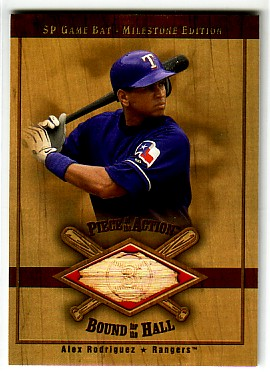 2001 SP Game Bat Milestone Piece of Action Bound for the Hall #BAR Alex Rodriguez Rangers