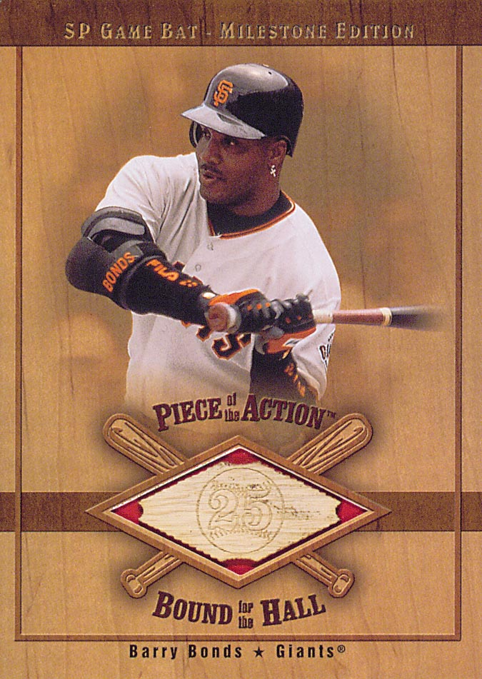 2001 SP Game Bat Milestone Piece of Action Bound for the Hall #BBB Barry Bonds