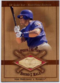 2001 SP Game Bat Milestone Piece of Action Bound for the Hall #BIR Ivan Rodriguez