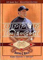 2001 SP Game Bat Milestone Piece of Action Bound for the Hall #BRC Roger Clemens SP/203