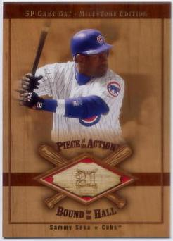 2001 SP Game Bat Milestone Piece of Action Bound for the Hall #BSS Sammy Sosa