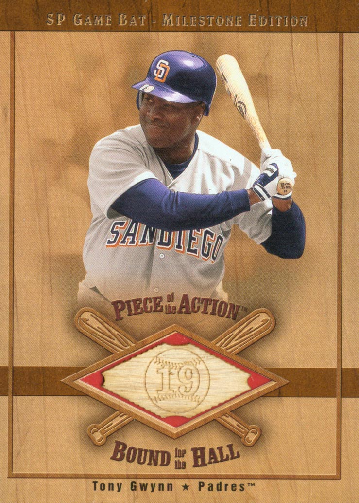 2001 SP Game Bat Milestone Piece of Action Bound for the Hall #BTG Tony Gwynn