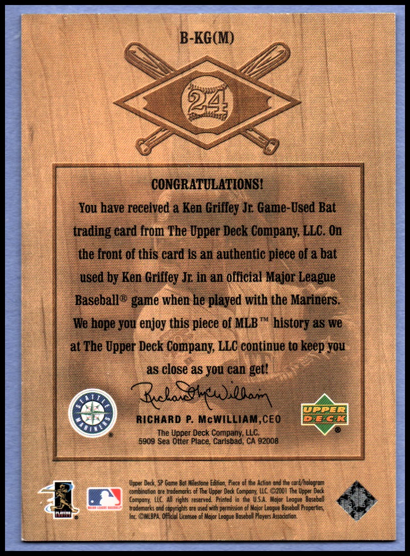 2001 SP Game Bat Milestone Piece of Action Bound for the Hall #BKGM Ken Griffey Jr. M's * back image