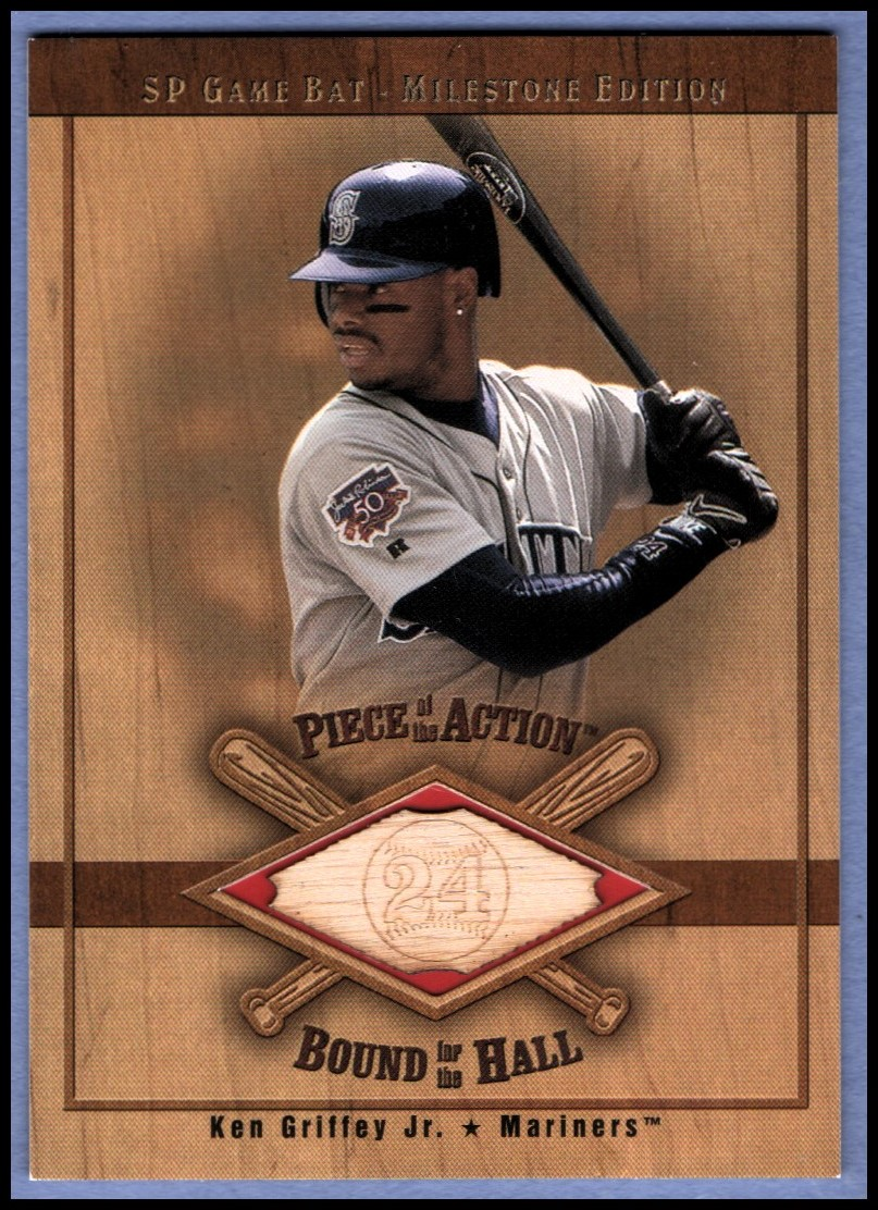 2001 SP Game Bat Milestone Piece of Action Bound for the Hall #BKGM Ken Griffey Jr. M's *