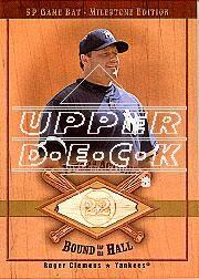2001 SP Game Bat Milestone Piece of Action Bound for the Hall Gold #BRC Roger Clemens
