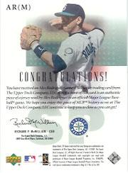2001 SP Game Used Edition Authentic Fabric #ARM Alex Rodriguez Mariners DP back image