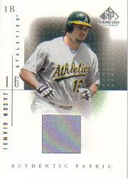 2001 SP Game Used Edition Authentic Fabric #JG Jason Giambi