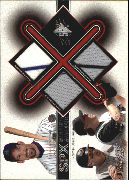 2001 SPx Winning Materials Update Trios #GWS Luis Gonzalez/Matt Williams/Curt Schilling