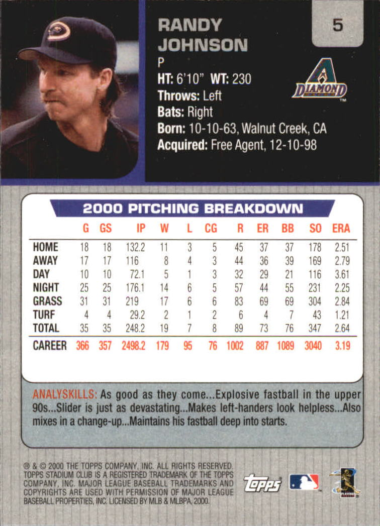2001 Stadium Club #5 Randy Johnson back image