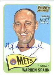 2001 Topps Team Topps Legends Autographs #TT13F Warren Spahn 65