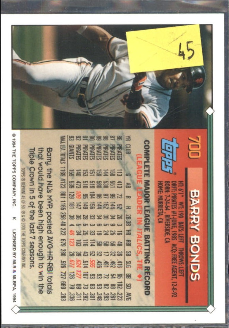 2001 Topps Through the Years Reprints #45 Barry Bonds '94 back image