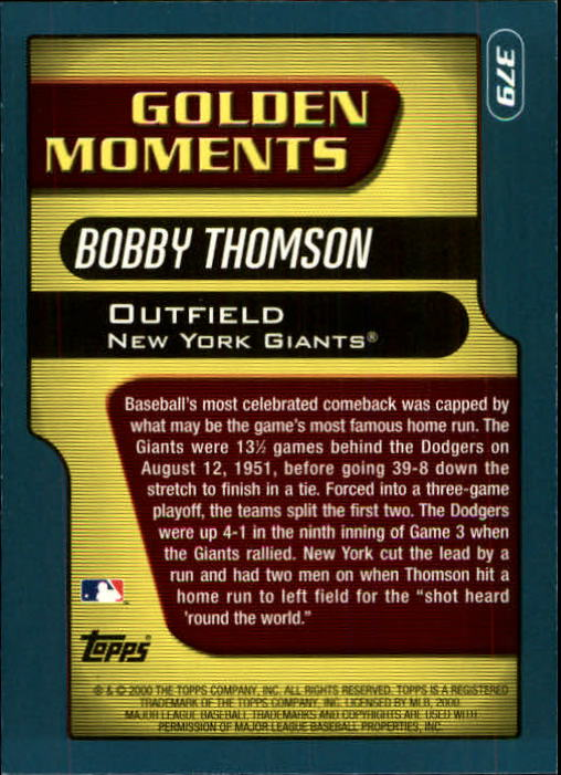 2001 Topps Limited #379 Bobby Thomson GM back image