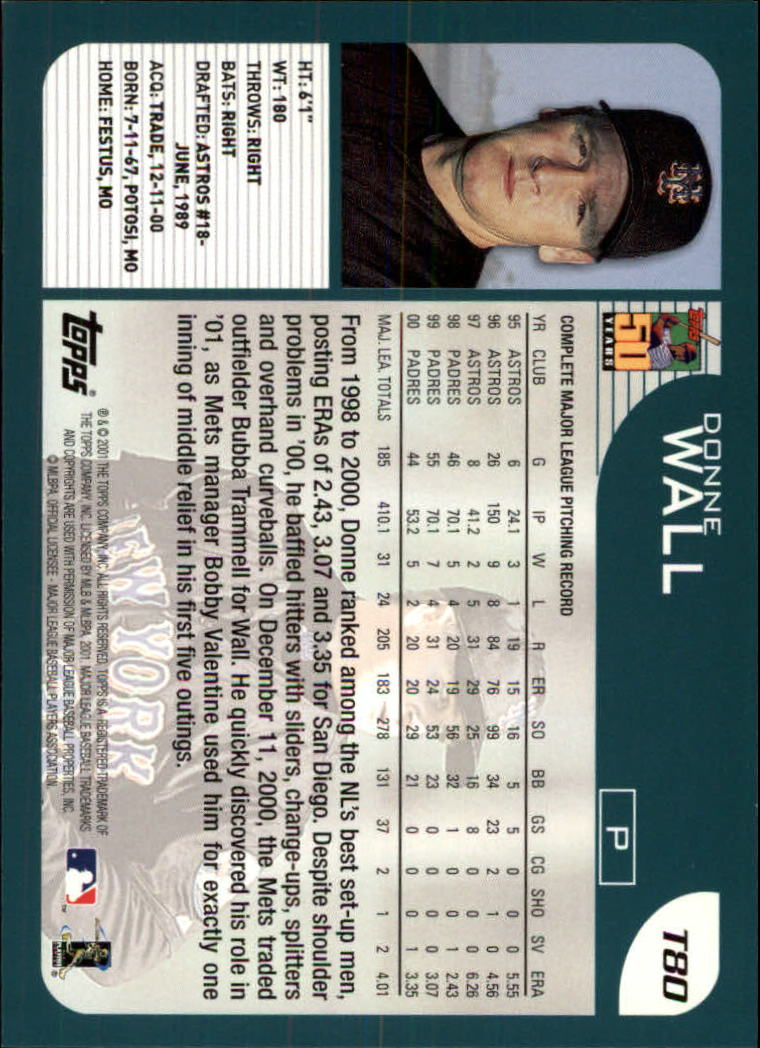 2001 Topps Traded #T80 Donne Wall back image