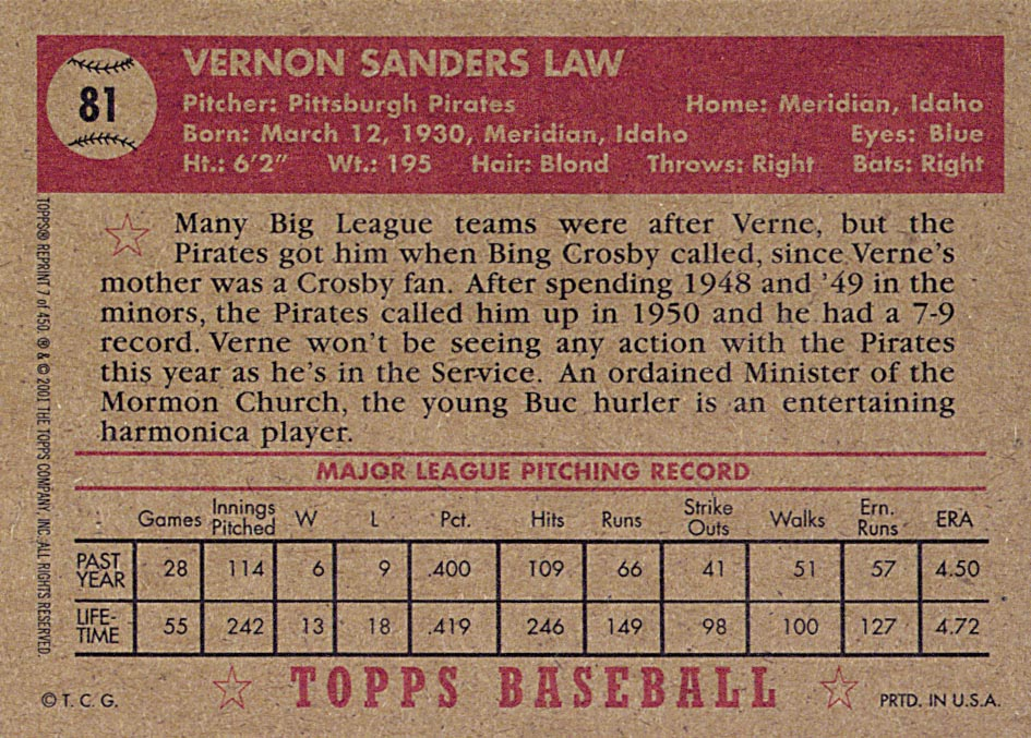 2001 Topps Archives #7 Vernon Law 52 back image