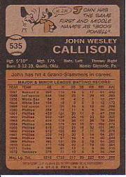 2001 Topps Archives #131 Johnny Callison 73 back image
