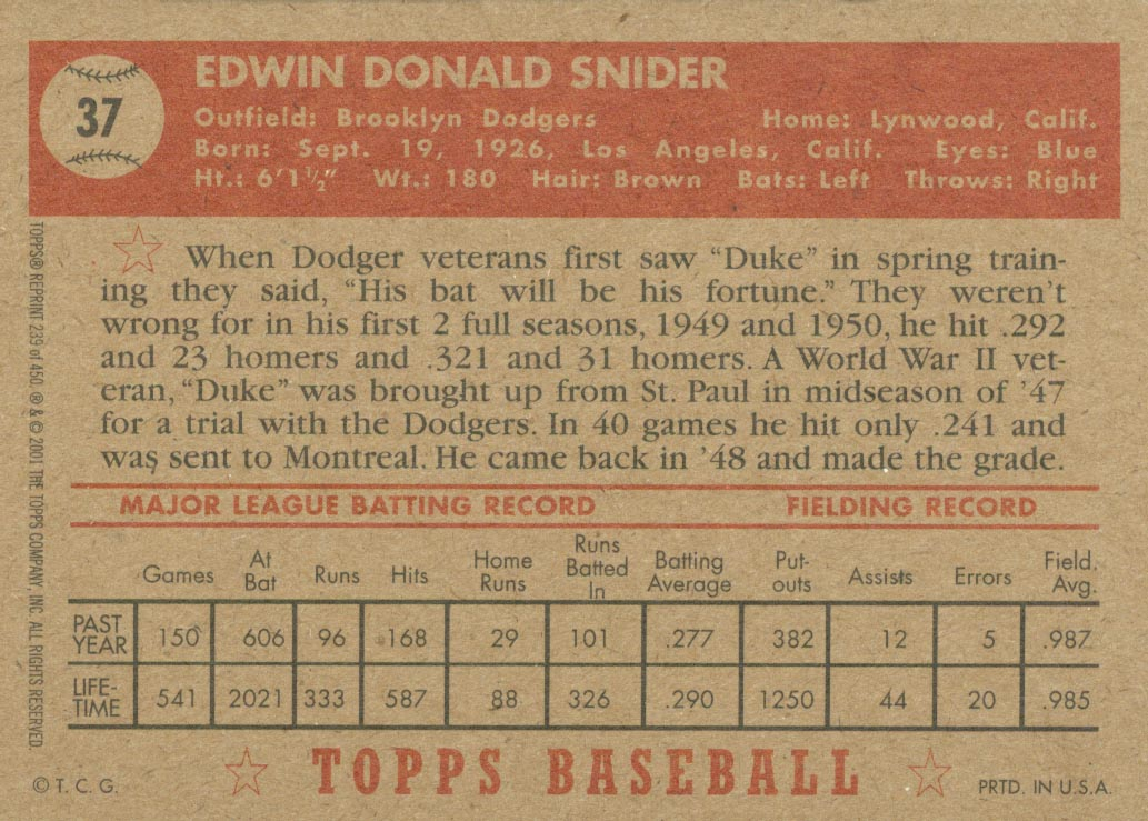 2001 Topps Archives #239 Duke Snider 52 back image