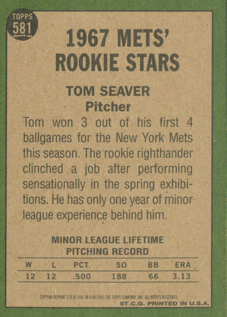 2001 Topps Archives #278 Tom Seaver 67 back image